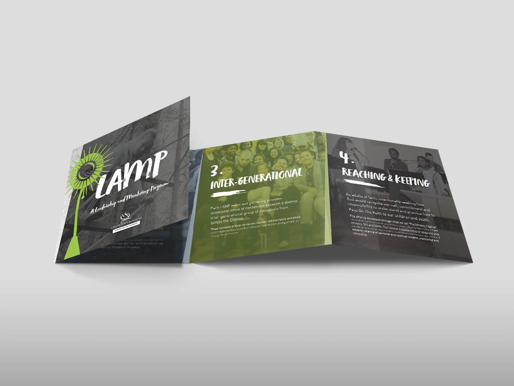 lamp brochure accordion fold hayley tarrant design branding